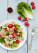 Fattoush salad (vegetable salad with bread, Arabia)