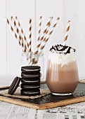 Oreo cookies and a glass of milk chocolate shake (USA)