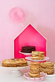 An arrangement of pancakes including chocolate pancakes