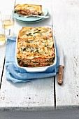 Salmon, spinach and tomato lasagne