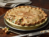 Chicken pie with carrots, peas and potatoes