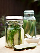 Pickled cucumbers with dill