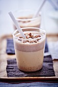 A milk shake with chocolate and nuts