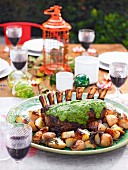Roast beef rib with salsa verde
