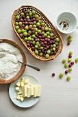 Ingredients for gooseberry cake