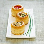Vol-au-vents filled with vegetables