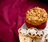Almond cake and mince pies for Christmas