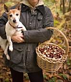 Frau mit Hund und einem Korb Esskastanien im Wald