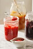 Homemade strawberry jam, mulberry jam and mango chutney