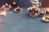 Almond cakes with chocolate glaze