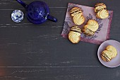 Piped biscuits with fine chocolate stripes