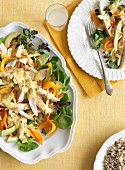 Chicken salad with mango, avocado and flaked almonds