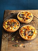 Vacherin, butternut squash and red onion tartlets