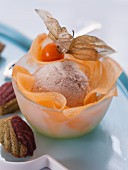 Tea ice cream with melon and physalis