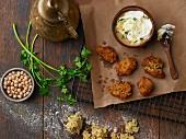 Falafel with coriander and a tahini dip