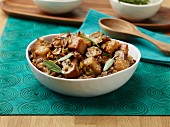 Bread stuffing with mushrooms, sage and sausage for Thanksgiving