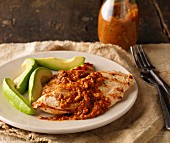 Chicken breast with almond salsa and avocado (Mexico)