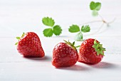 Three strawberries with leaves