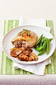 Roast mustard chicken with balsamic mushrooms