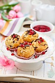 Chocolate chip and pomegranate seed muffins
