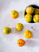 Greengages, some in a bowl