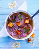 Red onion soup with croutons