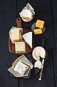 An arrangement of various different cheeses for fondue