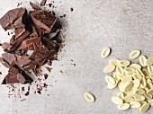 Chocolate pieces and white chocolate beans