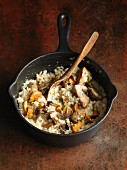 Mushroom risotto in a saucepan