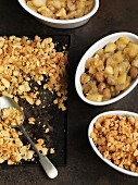 Spicy apple and chestnut crumble with almonds
