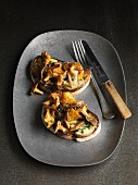 Toast topped with wild mushrooms