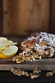 Homemade fruit bread with apples and nuts