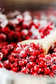 Sugared cranberries in a saucepan