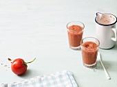 Gazpacho shots with raspberries