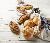 White bread rolls and muesli rolls