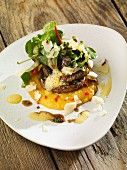 Grilled mushrooms on polenta with grated Parmesan