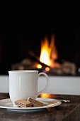 White beaker and biscuits on saucer in front of fire in open fireplace