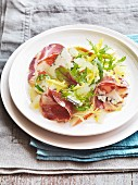Mixed leaf salad with coppa, pears, blue cheese and a lemon and ginger jelly