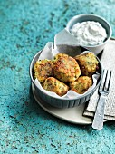 Courgette keftedes with tzatziki (Greece)
