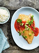Lemon sole fillet with spicy strawberry sauce and rice (Thailand)