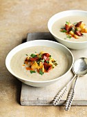 Jerusalem artichoke and chestnut soup with chorizo and apple