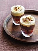 Plum and chocolate trifles with Port wine