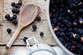 A pot of blackberries