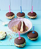 Birthday whoopie pies with candles and sugar sprinkles