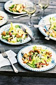 Chicory salad with bacon, blue cheese and croutons