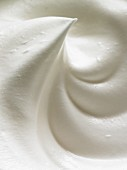A close-up of meringue mixture