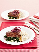 Lamb with bean mash and nutty spinach