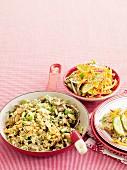 Chicken pilaf with carrot and cucumber salad