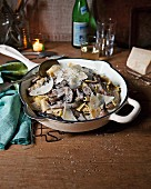 White wine and mushroom ragout with sagnarelli