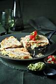 Quesadillas with mushrooms and guacamole (Mexico)